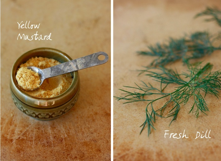 Freshly ground yellow mustard and dill weed sprigs from the garden