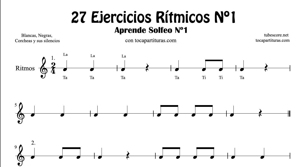 27 Ejercicios Rítmicos en 2/4 Partituras de Ritmos con Negra, Corcheas, Blanca y sus Silencios Aprende Solfeo y Rítmica
