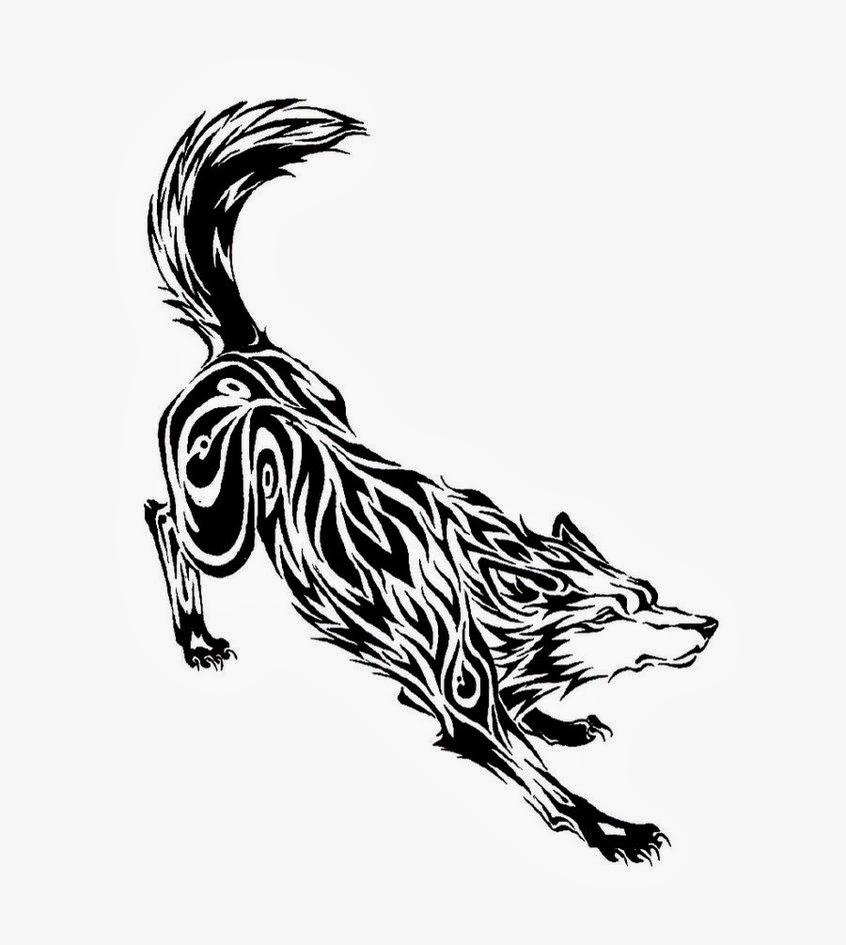 Wolf tribal tattoo stencil
