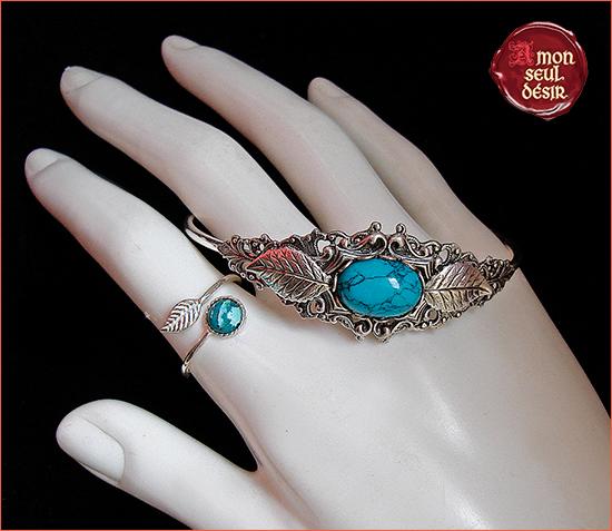 Bracelet bague Turquoise Bleu Bijoux elfique féerique