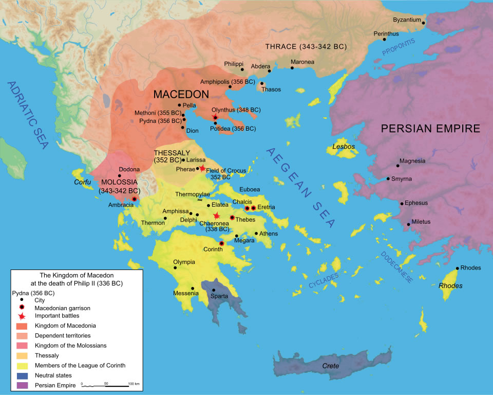 Map of the Kingdom of Macedon at the death of Philip II in 336 BC