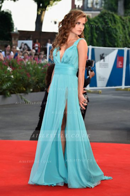 Giulia Elettra Gorietti Birdman Venice Film Festival Long Sleeveless Chiffon Prom Dress