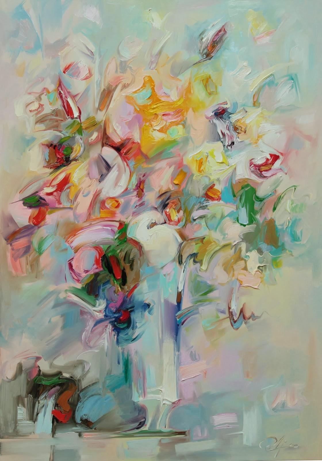 Obraz olejny - kwiaty w jasnych barwach