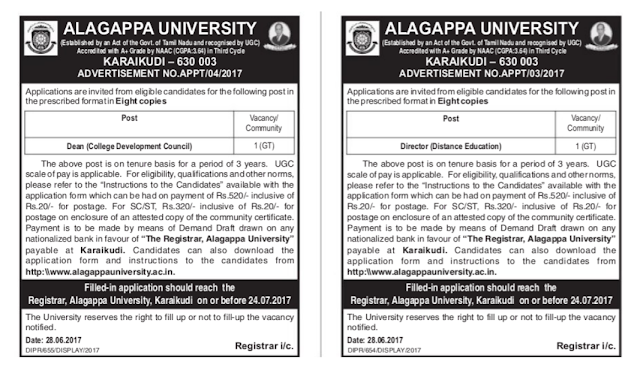 Alagappa University Dean, Director Question Papers