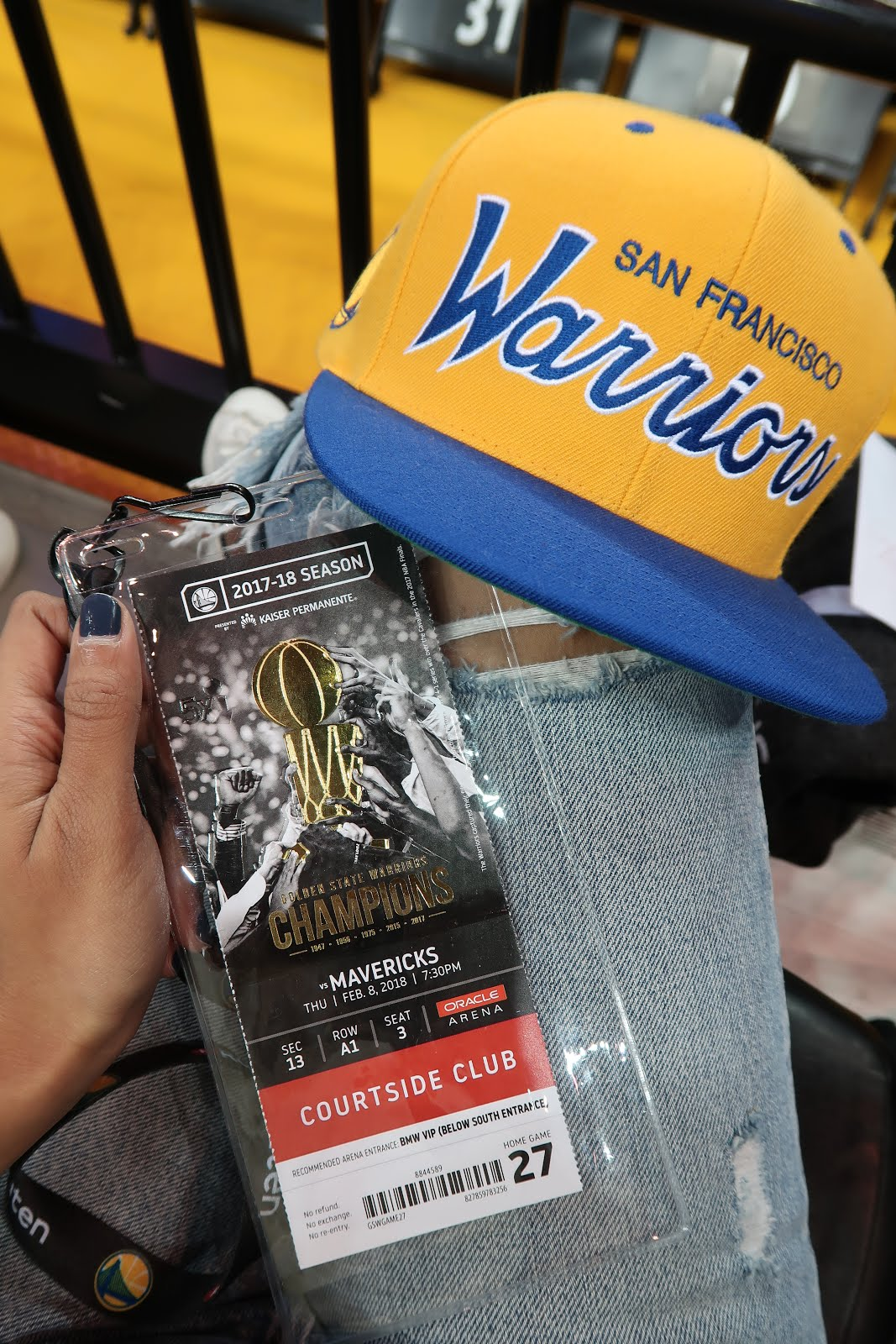 ShopStyle Warriors Basketball game courtside seats!