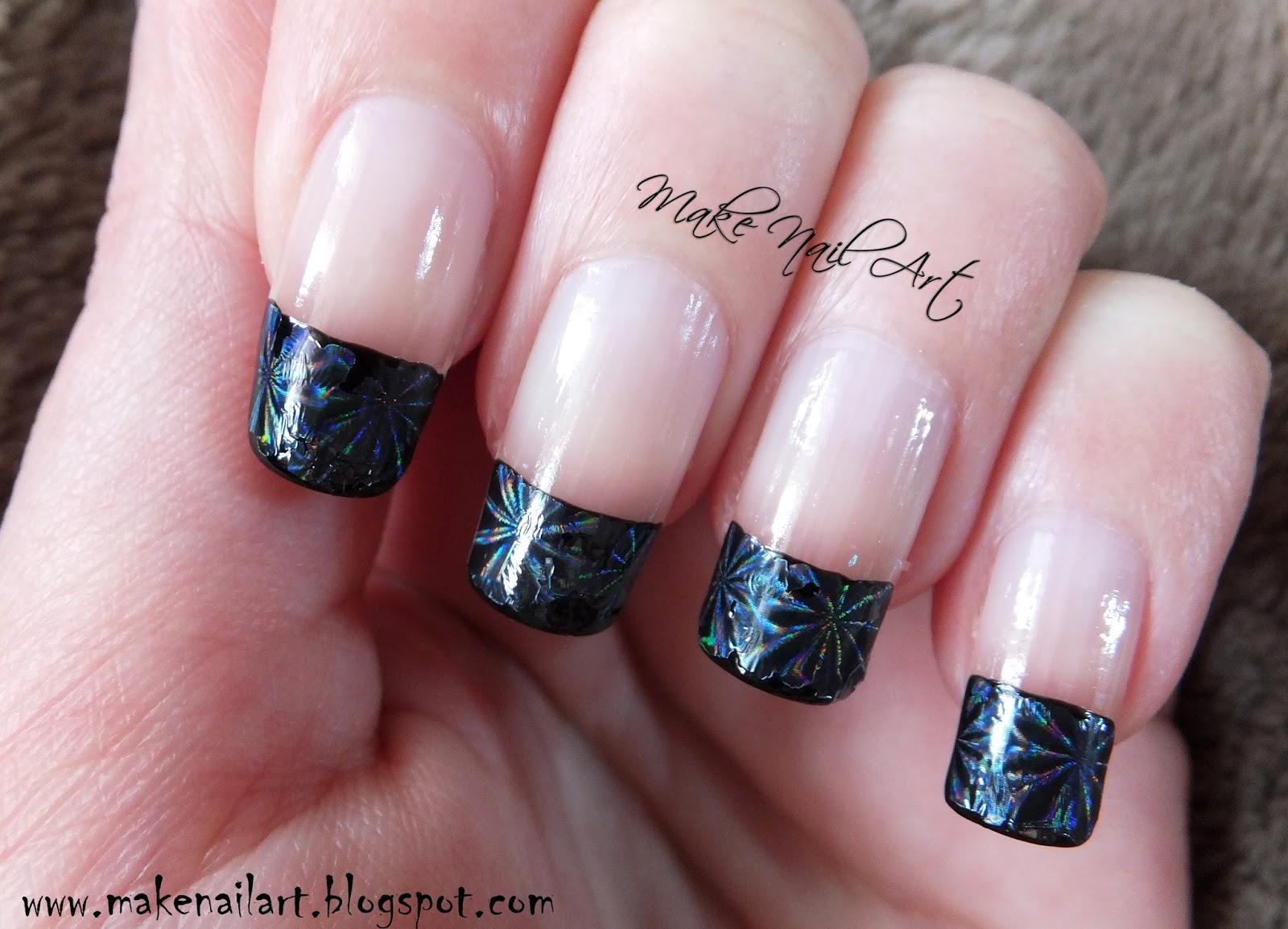 Make Nail Art: Black French Manicure With Nail Foil Nail ...