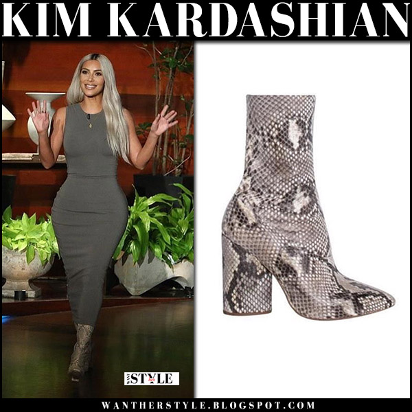 Kim Kardashian in khaki dress and snake skin ankle yeezy boots The Ellen Show november 14 2017 fashion