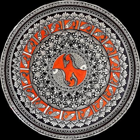 Fish Madhubani Painting Textile Design 2356
