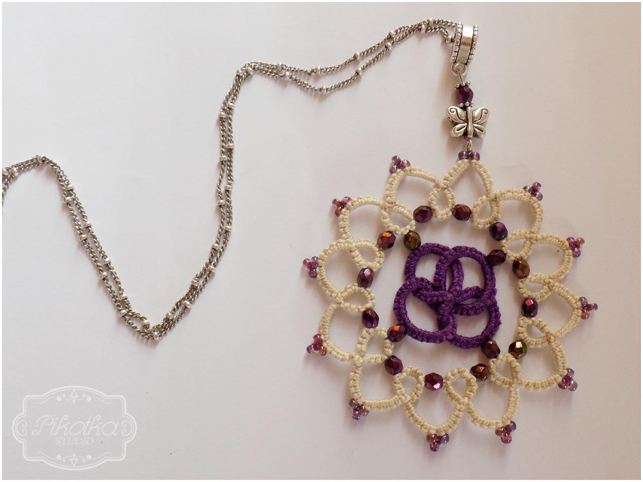 frywolitka, tatting, rękodzieło, biżuteria, handmade, jewellery, wisior, koraliki nihbeads, koraliki fire polish,