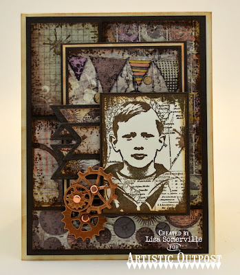 Artistic Outpost Stamp Sets: The Captain, Grunge Elements, Vagabond Treasurers Paper Collection, Dies: Steampunk Gears, Pennant Flags, Double Stitched Pennant Flags