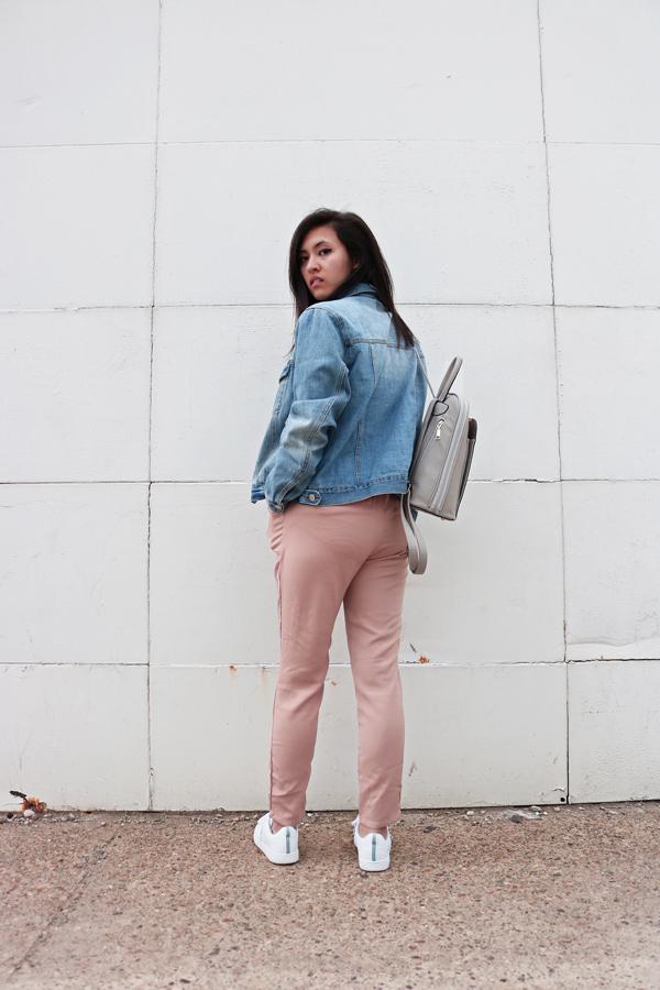 Blogger Style, Pastel Pink Pants, Denim Jacket, White Sneakers