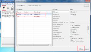 Buka Tool Flashtool pilih menu Flash Device dan Centang Flashmode