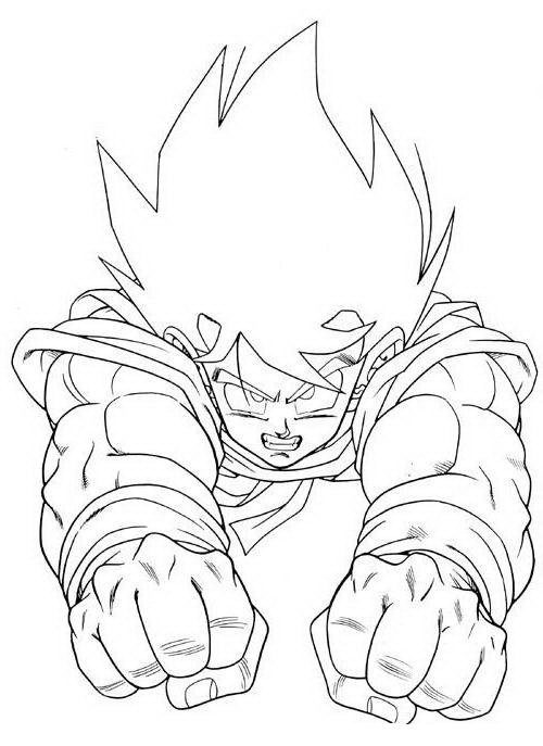 Goku Volando Para Colorear Dibujo Views