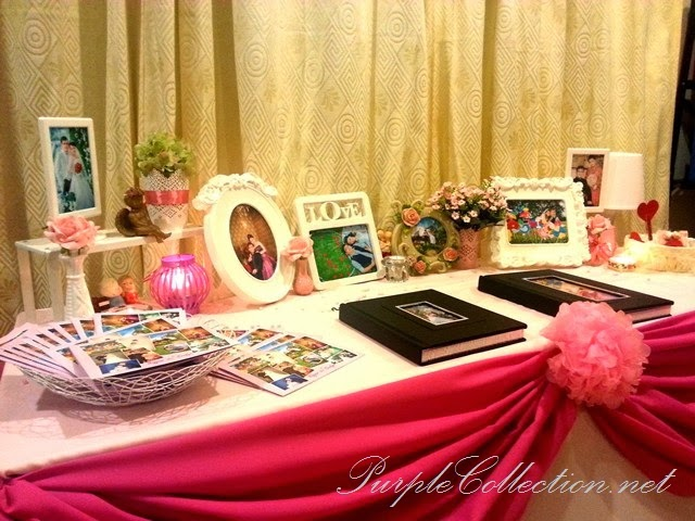 photo album viewing table decoration, wedding, event, decor, kuala lumpur, malaysia, pink theme, sweet, love, budget, package