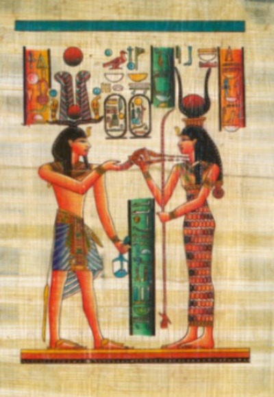 Artistic rendering of Egyptian man and woman with woman wearing ankle skimming sheath like dress