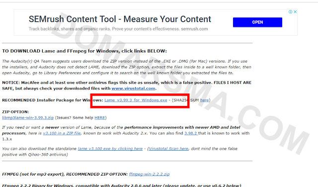 Cara Export Audio Dengan Format MP3 Pada Audacity