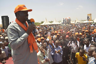 Raila Odinga at the stage in North-Eastern Region lobbying for votes. PHOTO | Rodgers Odhiambo