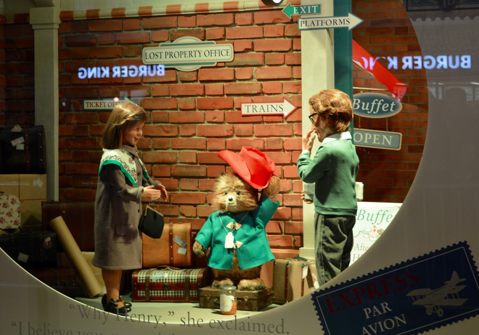 Fenwick's Window 2017 - It's Paddington Bear themed! - train station