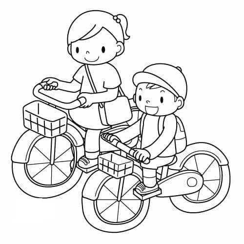 Tranh tô màu thiếu nhi chơi đạp xe