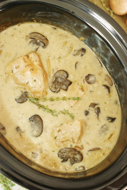 Slow Cooker Chicken Stroganoff ~  With a few simple ingredients & a few hours in the crockpot, this deliciously creamy dish is ready for your family to enjoy!  It may just become your new favorite weeknight meal.  www.thekitchenismyplayground.com