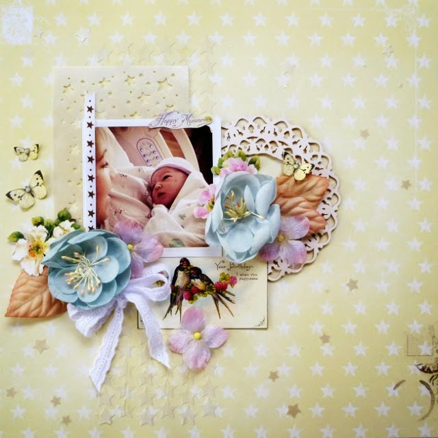 Happy Memories Baby Scrapbook Layout by Dana Tatar for Inkido