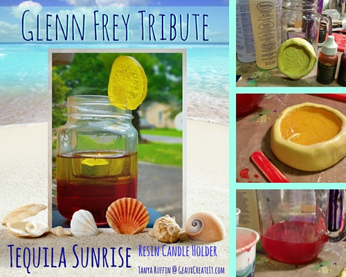 Tequila Sunrise Resin Candle Holder- Glenn Frey Tribute- Tanya Ruffin for Geaux Create It