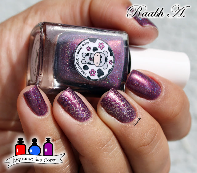 Roxo, Holográfico, Shimmer, Moo Moo's Signatures Singing a Texas Lullaby, Moo Moo's Signatures, Femme Fatale, Femme Fatale Triune, Polish Pick Up, Raabh A. 2019, esmalte importado, Esmalte Indie,