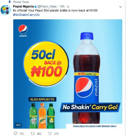 Pepsi Officially Returns 5Ocl Drink To N100