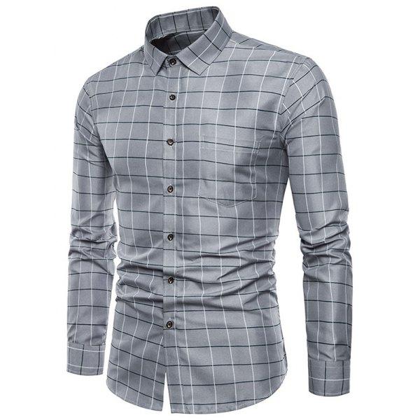 Plaid Print Button Up Long Sleeves Shirt