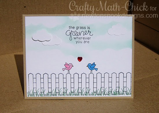 Grass is Greener Love Birds card | Garden Whimsy by Newton's Nook Designs