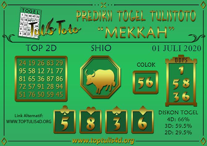 Prediksi Togel MEKKAH TULISTOTO 01 JULI 2020