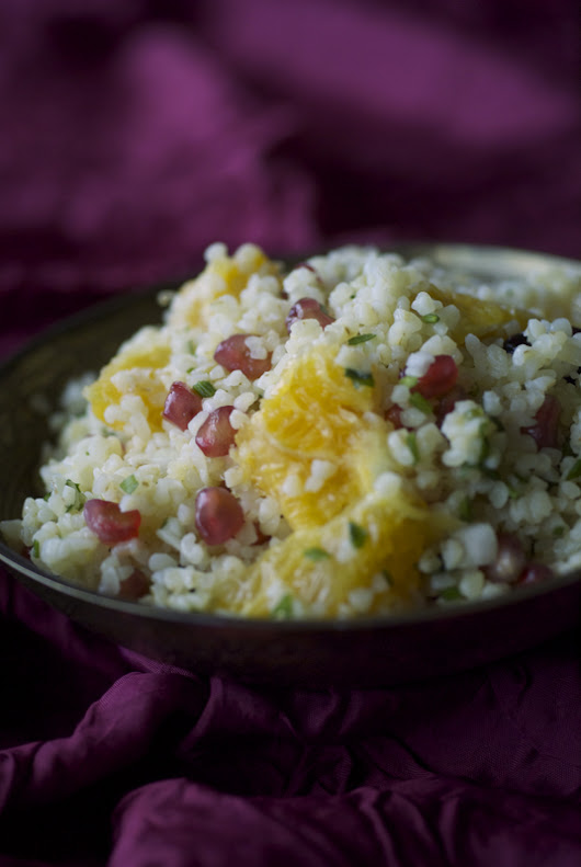 Bulgur, orange and pomegranate salad with honey. Did you say honey?