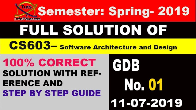CS603 GDB No. 1 Solution Spring 2019 Software Architecture and Design