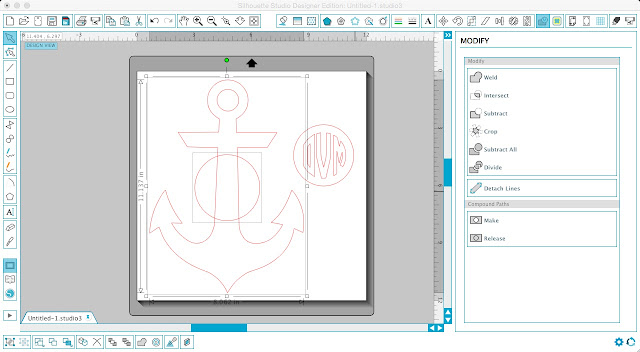 Silhouette Cameo, Silhouette Studio, monogram, anchor, beach cover up, men's t-shirt, offset circle