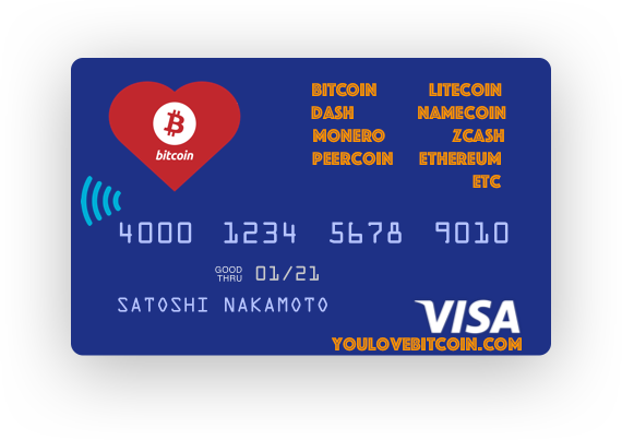 You Love Bitcoin + Altcoin VISA Pre-Paid Card