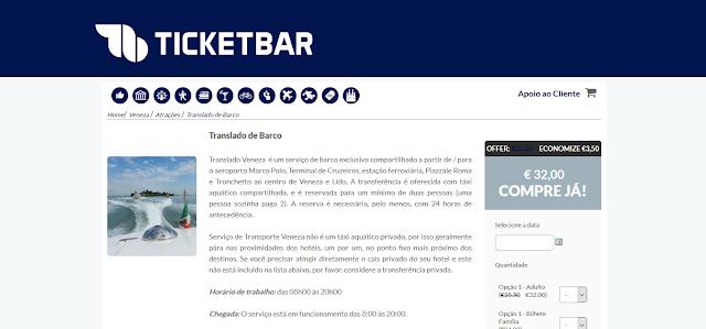 Ticketbar para ingressos para o translado de barco em Veneza