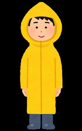 かっぱを着た男性のイラスト(全身)