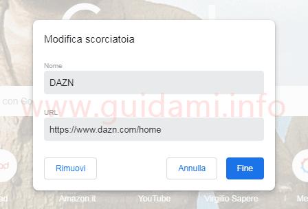 Chrome 69 finestra Modifica scorciatoia sito rapido