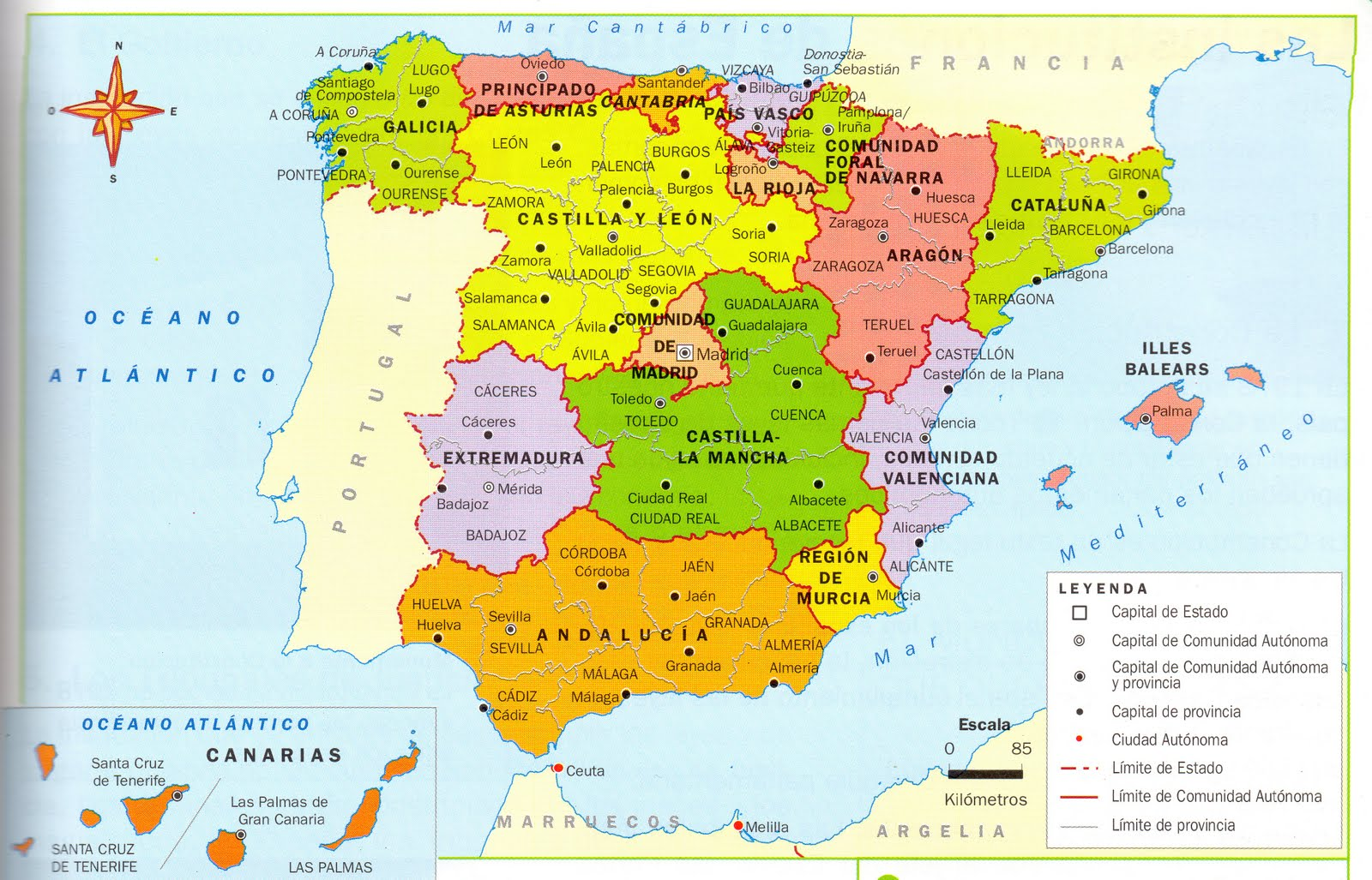 Antonio Alonso España Geografia: Mapa de las Comunidades Autónomas