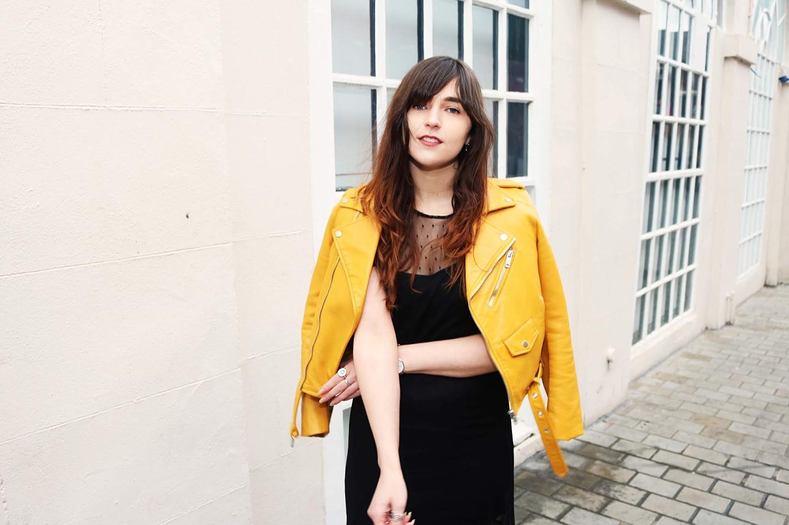 yellow biker jacket