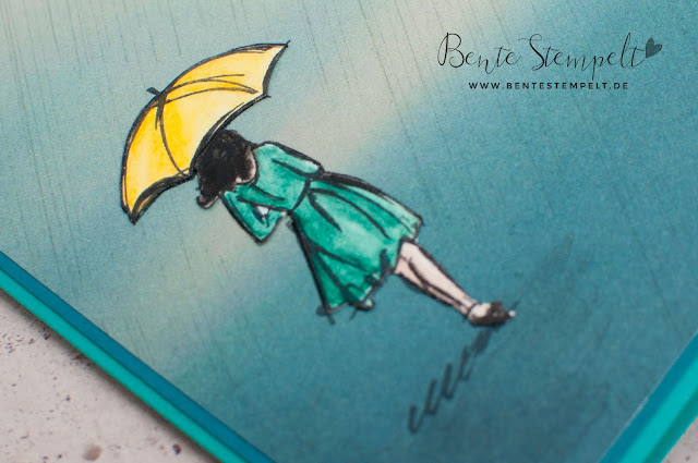 Stampin' Up! Karte Stempelset Mit Stil Beautiful You DSP DEsignerpapier gemustertes Papier Stille Natur Technik Anleitung doppelt gestempelt ausgeschnitten Regen Regenschirm Gorgeous Grunge Texturstempel