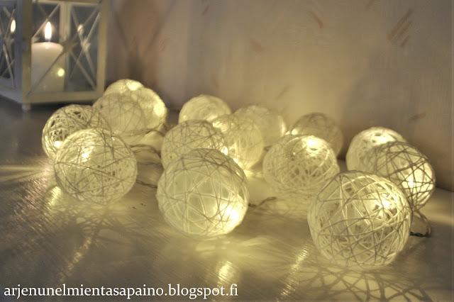 jouluvalo, tunnelmaa, sisustus, koti, valopallot, diy, pallot, valosarja