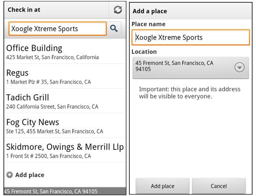 Google Maps 5.8 für Android – neue Orte zum Einchecken erstellen on