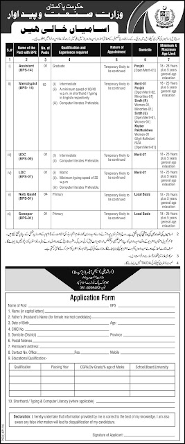 Jobs in Pakistan in Ministry of Industries and Production Jobs 2016