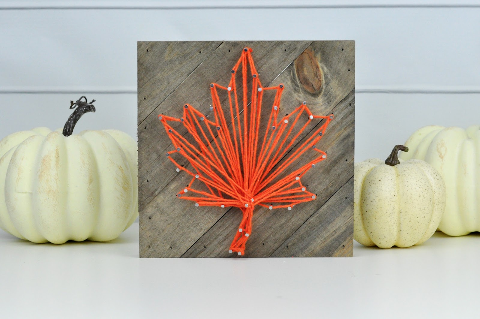 Fall String Art Frame tutorial by Jen Gallacher for Jillibean Soup. #stringart #jillibeansoup #jengallacher #autumncraft #fallstringart