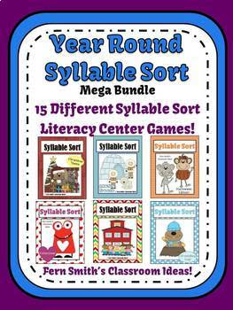 The Entire Year of Syllable Sort Center Games Bundle