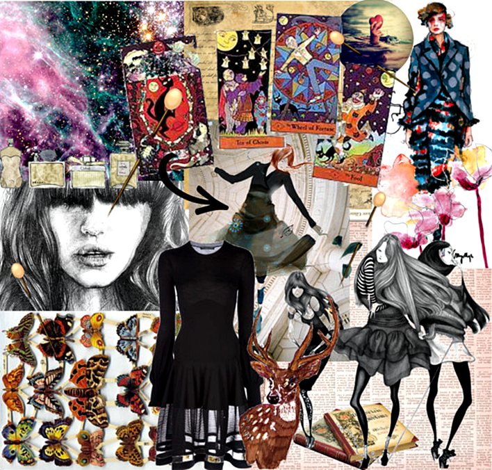 cosmic balance mood board, butterflies, stag, tarot cards, little black dress, lbd