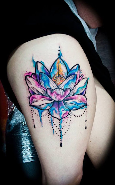 Beautiful Watercolor Lotus Flowers Tattoos