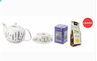 Cumpara de aici acest set de ceai minutat cu decoratiuni flori de lavanda