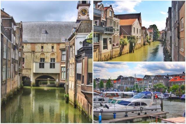 Canales en el centro histórico de Dordrecht